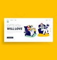 gift from child landing page template happy kids vector image