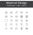 material design ui line icons vector image