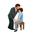 muslim father kissing his son vector image vector image