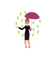 office girl with umbrella under dollar rain vector image vector image