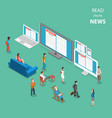 online news flat isometric concept