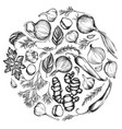round floral design with black and white onion vector image vector image