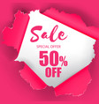sale special offer 50 off hole in pink paper back vector image vector image