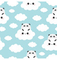 seamless pattern panda bear face holding cloud in vector image vector image
