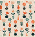seamless pattern with flowers in pots and vector image