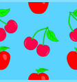 seamless texture of apples and cherries vector image vector image