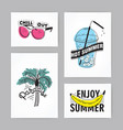 set hand drawn cards with lettering vector image