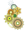 Set of ethnic floral design vector image
