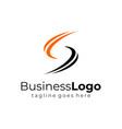 simple wave black orange letter s business logo vector image vector image