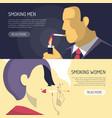 smoking men women 2 banners vector image vector image