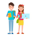 students with book and laptop vector image