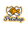 the logo on the theme of shop for pets fish vector image vector image