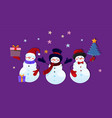 three cute funny snowman characters with gifts vector image