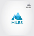 two mountain with road and letter m logo sign vector image