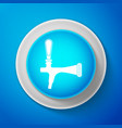 white beer tap icon isolated on blue background vector image