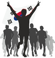 Winner with the South Korea flag at the finish vector image vector image