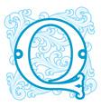 winter vintage letter Q vector image vector image