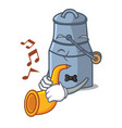 with trumpet milk can mascot cartoon vector image vector image
