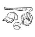 baseball equipment engraving vector image