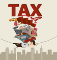 Businessman with TAX and Debt on the rope vector image