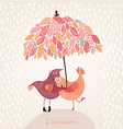 romantic autumn background with birds in love vector image