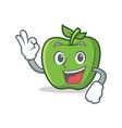 okay green apple character cartoon vector image