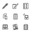 9 notebook icons vector image vector image