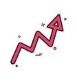 arrow graph progress up icon design vector image