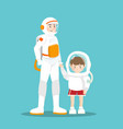 astronaut and kid on sky blue vector image vector image
