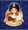 beautiful pirate girl with treasure chest and gun vector image vector image