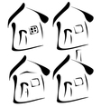 black houses silhouettes vector image vector image