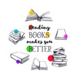 books hand drawn poster vector image