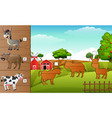 cartoon farm animals collection set find the corr vector image vector image