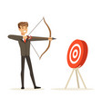 cheerful businessman aiming target with bow and vector image vector image