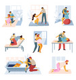 childbirth isolated icons man and woman preparing vector image vector image