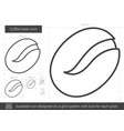 coffee bean line icon vector image vector image