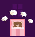 cute sleeping bear jumping sheeps cant sleep vector image vector image