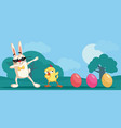 dabbing easter characters funny banner vector image vector image