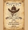 death cowboy invite template vector image vector image