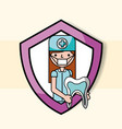 dentist girl tooth in protection emblem vector image