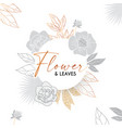elegant circle banner with hand drawn gold flower vector image