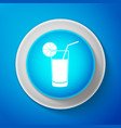 glass of juice icon isolated on blue background vector image