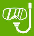 goggles and tube for diving icon green vector image vector image