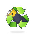 green recycling symbol with battery inside vector image