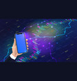 hand holding realistic smartphone mockup with vector image vector image