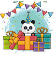 happy birthday card with bear panda vector image vector image