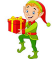 happy green elf boy holding gifts vector image vector image