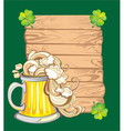 Happy St Patricks day card with beer vector image vector image