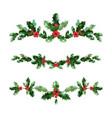 holly nature set vector image vector image