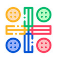 Interactive kids ludo game thin line icon